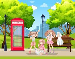 Meisjes en huisdierenhonden in park vector