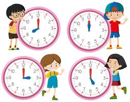 Klok met kinderen karakter vector