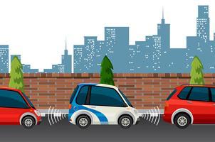 Elektrische auto in stadsstad vector