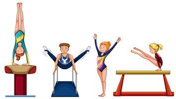 Mensen die gymnastiek op verschillende apparatuur doen vector