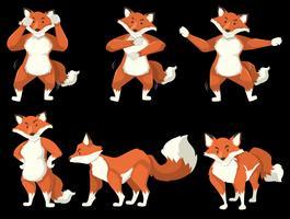 Fox-karakter danspositie vector
