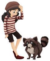 Klein meisje en schattige wasbeer