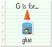 Flashcardletter G is voor lijm vector