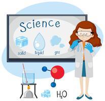 Een Sciene-docent geeft de status van de materie aan
