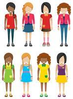 Anonieme kleine meisjes zonder gezichten vector