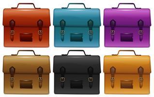 Koffers in zes verschillende kleuren