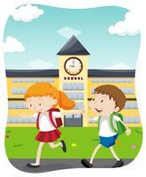Gelukkige studenten die naar school gaan