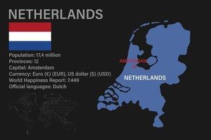 zeer gedetailleerde kaart van nederland met vlag, hoofdstad en kleine wereldkaart vector