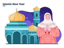 islam vrouw groet gelukkige nieuwe hijri jaar 1 muharram aan de voorkant moskee vector