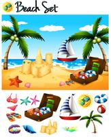 Strandvoorwerpen en oceaanscène