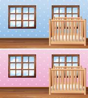 Set van babyjongen en meisje kamers