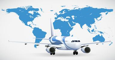Vliegtuig en blauwe atlas vector