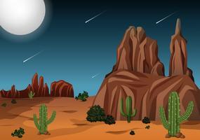 Woestijn bij nachttijdscène vector
