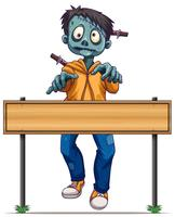 Zombie die achter houten teken loopt