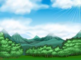 Bosscène met bomen en bergen