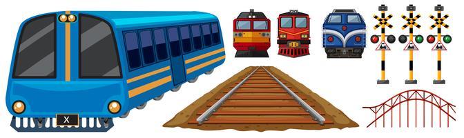 Spoorweg en verschillende ontwerpen van treinen