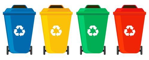 Vier kleuren vuilnisbakken