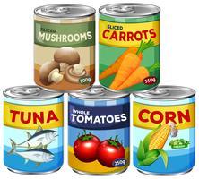 Een set van Can Food vector
