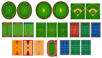 Sportvelden en velden vector