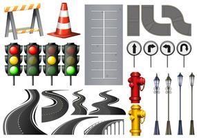 Verschillende items en veiligheidsuitrusting voor verkeer