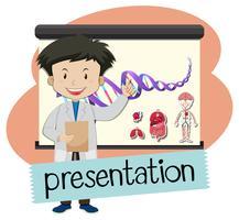 Wordcard voor presentatie met jongen die in wetenschapsklasse voorstelt
