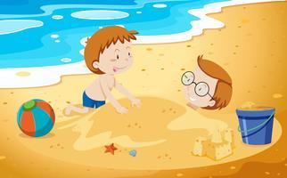 Vader en zoon spelen zand vector