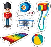 Stickerontwerp met verschillend speelgoed vector
