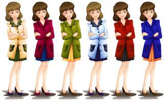 Vrouw in verschillende tinten van een blazer vector