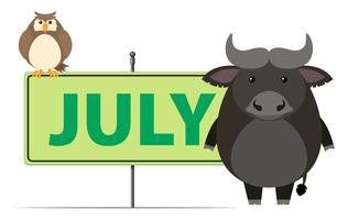 Teken sjabloon voor juli met uil en buffalo