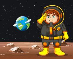 Astronaut in zwart ruimtepak die zich op planeet bevinden