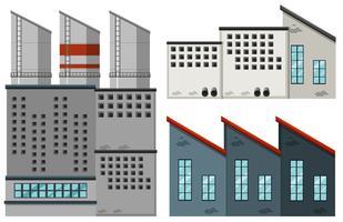 Fabrieksgebouwen in verschillende uitvoeringen vector