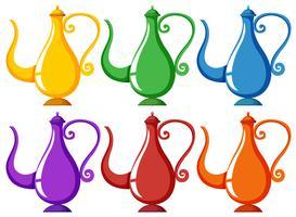 Lampen in zes verschillende kleuren vector