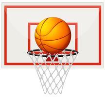Basketbal met basketbalbord en net