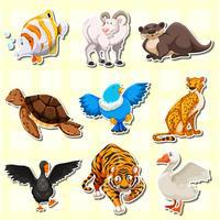 Stickerontwerp met schattige dieren vector