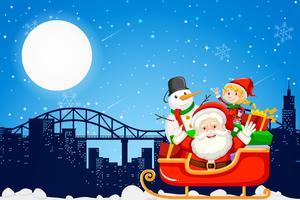 Santa in de stad vector
