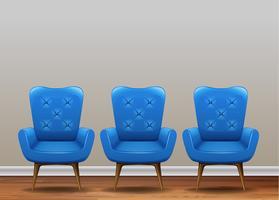 Een set van klassieke blauwe fauteuil