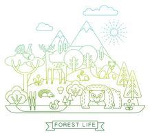 Vectorillustratie van het bosleven.