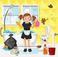 Een meid die vuile badkamers schoonmaakt