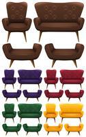 Sofa in vijf verschillende kleuren vector