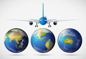 Achterkant van vliegtuig vliegt over de aarde
