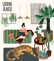 Urban Jungle. Vectorillustratie met trendy home decor. vector