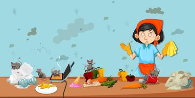 Vuile keukenscène met reinigingsmachine