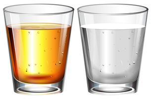Glazen water en whisky vector