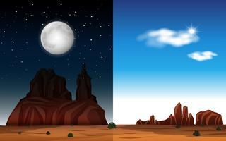 Woestijn dag en nacht scène vector