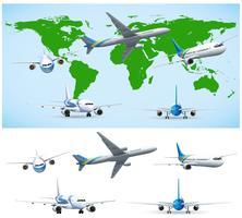 Vliegtuig vliegt over wereldkaart vector