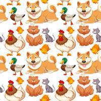 Naadloze achtergrond met veel schattige huisdieren vector