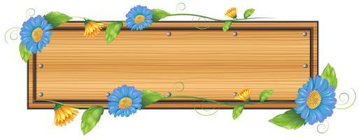 Een leeg bord met bloemen vector