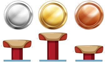 Drie medailles voor evenwichtsbalk vector