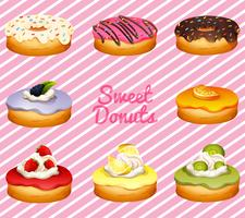 Donuts in verschillende smaken vector