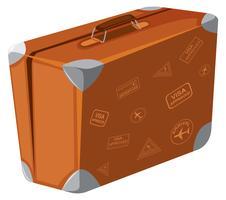 Een uitstekende koffer op witte achtergrond vector